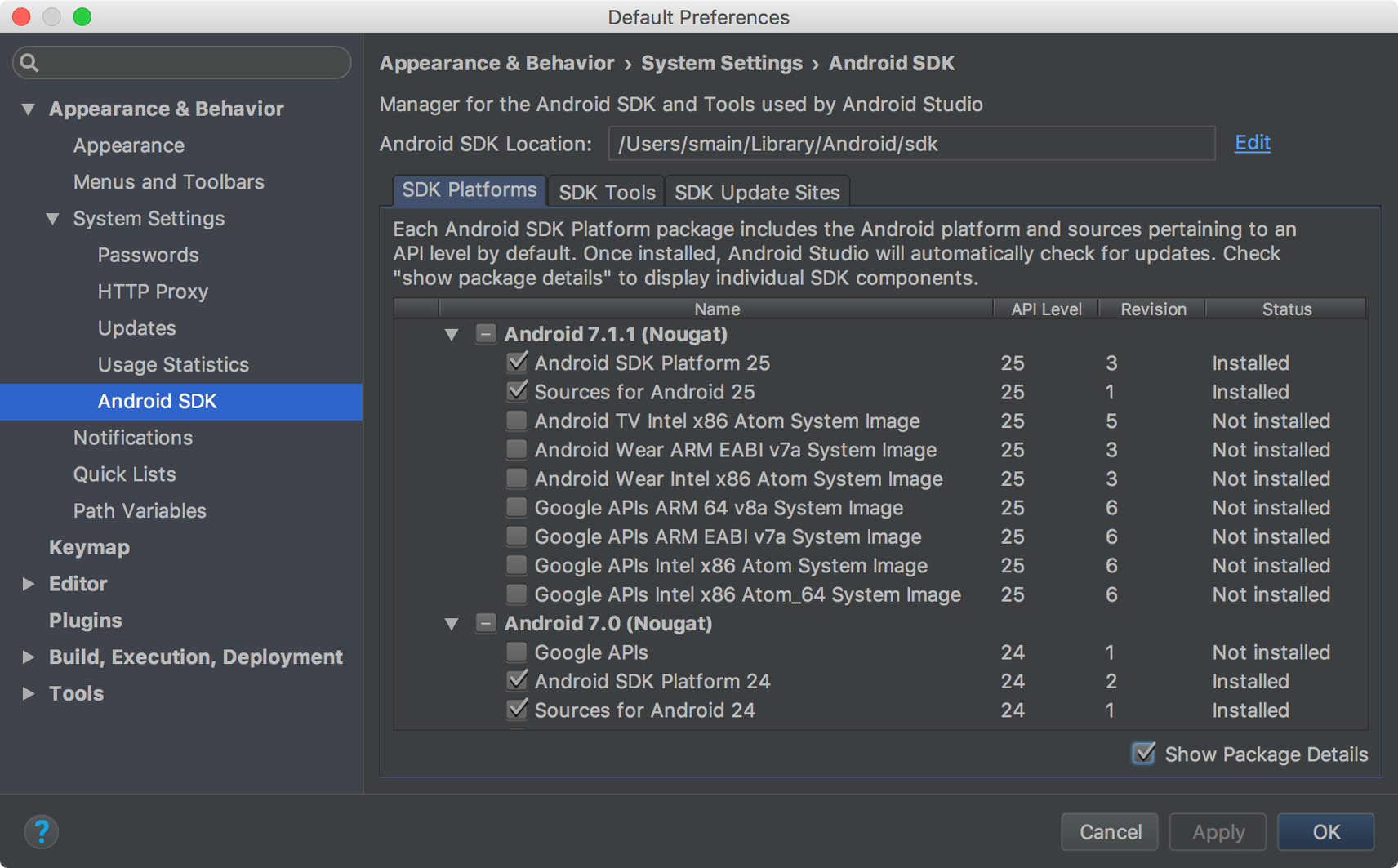 Download Build tools for Android SDK Manager